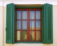 Atene Grecia, finestra d'annata della casa Fotografia Stock