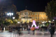 ATENE, GRECIA - 19 GENNAIO 2017: Foto di notte del quadrato di sintagma a Atene, Grecia Fotografia Stock