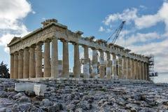 ATENE, GRECIA - 20 GENNAIO 2017: Panorama del Partenone nell'acropoli di Atene, Grecia Fotografie Stock Libere da Diritti