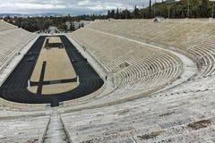 ATENE, GRECIA - 20 GENNAIO 2017: Panorama dello stadio panatenaico o del kallimarmaro a Atene Fotografie Stock
