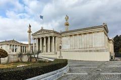 ATENE, GRECIA - 20 GENNAIO 2017: Punto di vista panoramico dell'accademia di Atene, Attica Immagine Stock