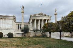 ATENE, GRECIA - 20 GENNAIO 2017: Punto di vista panoramico dell'accademia di Atene, Attica Immagini Stock Libere da Diritti