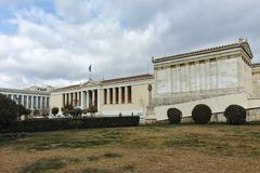 ATENE, GRECIA - 20 GENNAIO 2017: Punto di vista panoramico dell'accademia di Atene, Attica Fotografia Stock