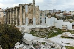ATENE, GRECIA - 20 GENNAIO 2017: Punto di vista di Roman Agora a Atene, Attica di tramonto Fotografia Stock