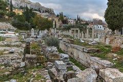 ATENE, GRECIA - 20 GENNAIO 2017: Punto di vista di Roman Agora a Atene, Attica di tramonto Fotografia Stock Libera da Diritti