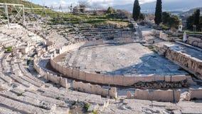 ATENE, GRECIA - 20 GENNAIO 2017: Resti del teatro di Dionysus in acropoli di Atene Immagine Stock