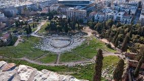 ATENE, GRECIA - 20 GENNAIO 2017: Resti del teatro di Dionysus in acropoli di Atene Immagini Stock