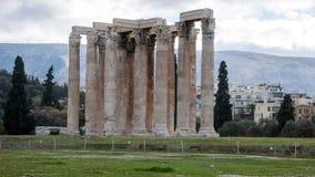 ATENE, GRECIA - 20 GENNAIO 2017: Tempio dell'olimpionico Zeus a Atene Fotografia Stock Libera da Diritti