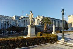 ATENE, GRECIA - 19 GENNAIO 2017: Vista panoramica della biblioteca nazionale di Atene, Attica Fotografie Stock Libere da Diritti