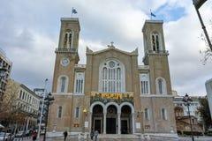 ATENE, GRECIA - 20 GENNAIO 2017: Vista stupefacente della cattedrale metropolitana a Atene Fotografia Stock