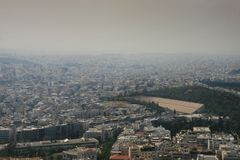 Atene ha coperto in fumo Immagini Stock