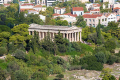 Atene - tempio di Hephaestus dalla collina di Areopagus Immagini Stock Libere da Diritti