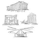 AtenGrekland berömda byggnader stock illustrationer