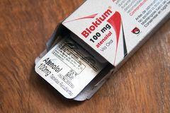 Atenolol, is een medicijn van het bètadieblockers type, hoofdzakelijk wordt gebruikt om hoge bloeddruk en angina te behandelen stock fotografie