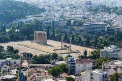Atens。奥林山宙斯寺庙  免版税库存图片