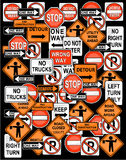 Atention road sign set  Royalty Free Stock Image