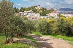 Ateny - światopogląd od areopagu wzgórza Agia Marina kościół Zdjęcie Royalty Free