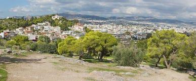 Ateny - światopogląd od areopagu wzgórza Agia Marina kościół Fotografia Stock