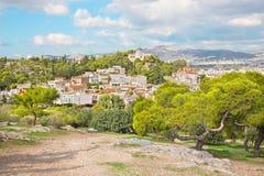 Ateny - światopogląd od areopagu wzgórza Agia Marina kościół Obrazy Royalty Free