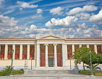 Ateny - budynek obywatel i Kapodistrian uniwersytet Ateny zdjęcie stock