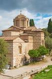 Ateny - byzantine Agioi Apostoloi kościół Zdjęcia Royalty Free