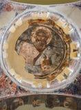 Ateny - fresk jezus chrystus w cupola byzantine Agioi Apostoloi kościół w Antycznej agorze Obrazy Royalty Free