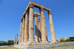 Ateny, Grecja, świątynia Olimpijski Zeus Obrazy Royalty Free