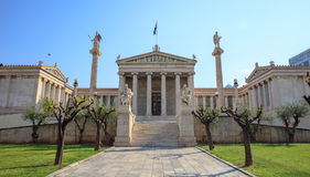 Ateny Grecja - akademia budynki zdjęcie stock