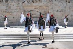 11 03 2018 Ateny, Grecja - Ceremonialny odmienianie strażnik wewnątrz Fotografia Stock