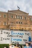 Ateny, Grecja, 30 2015 Czerwiec Greccy ludzie demonstrowali przeciw rzędowi o nadchodzącym referendum Fotografia Stock