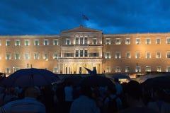 Ateny, Grecja, 30 2015 Czerwiec Greccy ludzie demonstrowali przeciw rzędowi o nadchodzącym referendum Obrazy Stock
