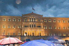 Ateny, Grecja, 30 2015 Czerwiec Greccy ludzie demonstrowali przeciw rzędowi o nadchodzącym referendum Obrazy Royalty Free