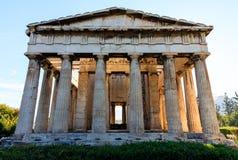 Ateny, Grecja Hephaestus świątynia na niebieskiego nieba tle Obraz Stock