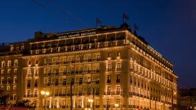 Ateny, Grecja - 23 05 2018 - Hotelowy Grande Bretagne w Centrum Miasta pobliskim Syntagma kwadracie - time lapse wideo zbiory wideo