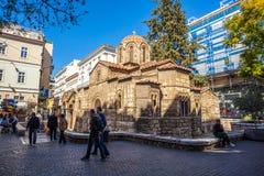 11 03 2018 Ateny, Grecja - kościół Panaghia Kapnikarea jest G Zdjęcia Stock