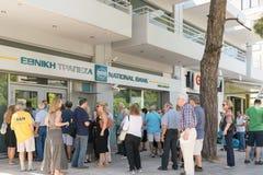 Ateny, Grecja 24 2015 Lipiec Kapitałowe kontrola kontynuują w Grecja robi ludzi czuje niewygodę i unsecure Zdjęcia Stock