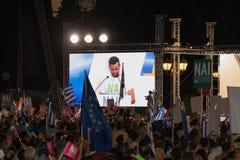 Ateny, Grecja, 3 2015 Lipiec Mayor Ateny, Greckie osobistości i lokalni ludzie demonstrarte o nadchodzącym referendum, Obrazy Stock