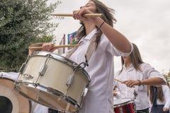 Ateny, Grecja, 28 2015 Październik Uczeń z bębenami w corocznej paradzie 28 Październik Zdjęcie Stock