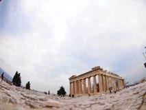 Ateny, Grecja Parthenon szeroki kąt Fotografia Royalty Free