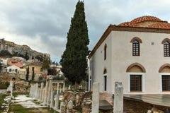 ATENY GRECJA, STYCZEŃ, - 20 2017: Zmierzchu widok Romańska agora w Ateny, Attica Obraz Royalty Free