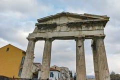 ATENY GRECJA, STYCZEŃ, - 20 2017: Zmierzchu widok Romańska agora w Ateny, Attica Zdjęcie Stock