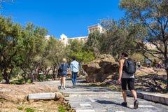 11 03 2018 Ateny, Grecja - turyści akropol w Ateny Fotografia Stock