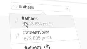 Ateny hashtag rewizja przez ogólnospołecznych medialnych poczta świadczenia 3 d Zdjęcie Royalty Free