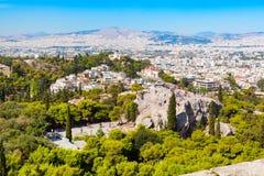 Ateny linia horyzontu z wzgórzem boginki i kościelny Agia Marina, Fotografia Royalty Free