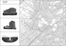 Ateny miasta mapa z pociągany ręcznie architektur ikonami ilustracji