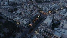 Ateny przy półmrokiem, widok z lotu ptaka zdjęcie wideo