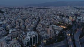 Ateny przy półmrokiem, widok z lotu ptaka zbiory