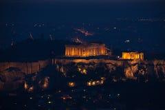 Ateny w ciemności z światłami, Grecja Zdjęcia Royalty Free