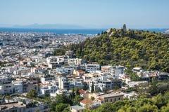 Ateny widok i Philopappos wzgórze od akropolu obraz royalty free