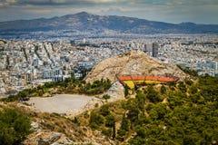 Ateny widok od Lykavytos Zdjęcie Royalty Free